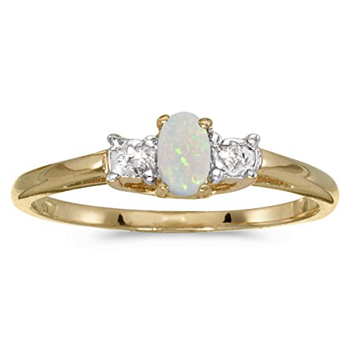 Jewels By Lux 14k Yellow Gold Oval Opal And Diamond Ring Size 7