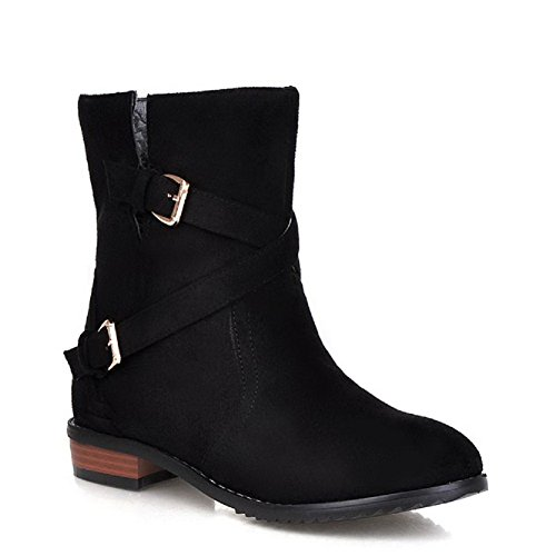 VogueZone009 Women's Mid Top Solid Pull On Round Closed Toe Low Heels Boots, Black, - In Mall Stores Raleigh