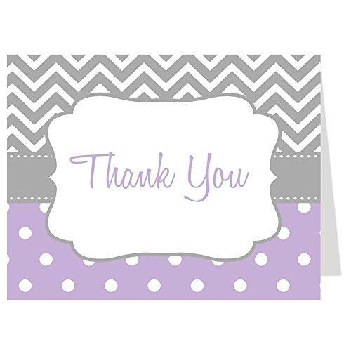 Thank You Cards, Chevron, Stripes, Baby Shower, Sprinkle, Purple, Lavender, Teacher, Birthday, Purple, Gray, Grey, Grey, Polka Dots, 50 Folding Notes with White Envelopes, Chevron Stripes and Dots ()