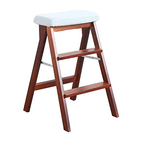 Price comparison product image LIXIONG Folding Ladder High Stool Three Step Ladder Chair Multipurpose Solid Wood,  170 Kg Load Capacity (Color : White,  Size : 48x42x67cm)