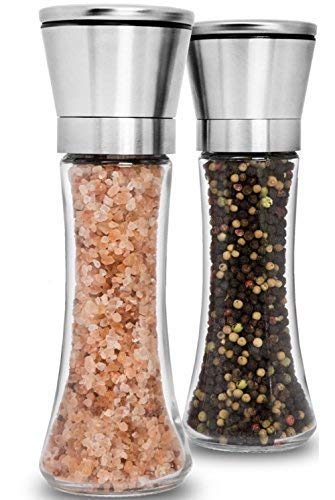(Premium Stainless Steel Salt and Pepper Grinder Set of 2 - Adjustable Ceramic Sea Salt Grinder & Pepper Grinder - Tall Glass Salt and Pepper Shakers - Pepper Mill & Salt Mill with Free Funnel & EBook)