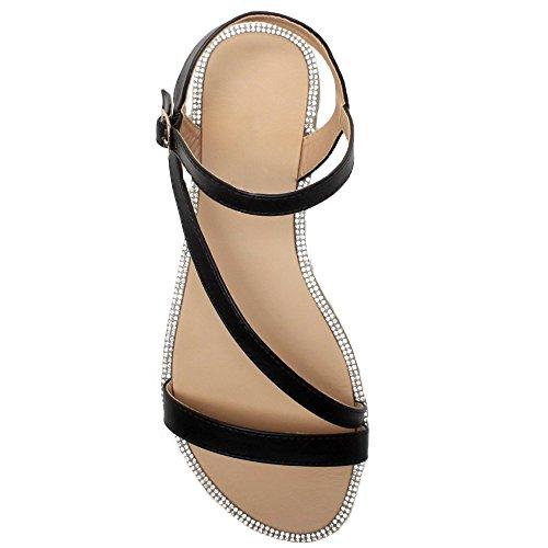 Plates Uni Pour Dames Chaussures En Moulantes Noir Ajvani Sandales Boucle Soirée Diamante Taille Été Garniture Femmes ZdwdqY