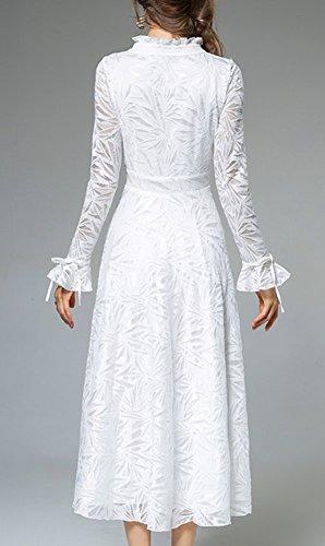 Midi Cocktail Spitze YL42618 Langarm Reine Kleid DISSA Kleider Cocktailkleid Partykleid Weiß Hohl Damen xtw440