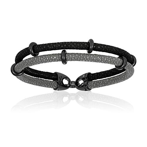 Double Bone Double Stingray Bracelet. Genuine Leather Bracelet with Black PVD Beads for Men and Women (Black/Grey, 20)