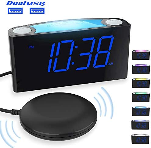 Extra Loud Vibrating Alarm Clock with Bed Shaker for Heavy Sleepers, Digital Alarm Clock with Dual USB Charger for Deaf Hearing-Impaired, 7 Display Full Range Dimmer, Colored Light Battery Backup
