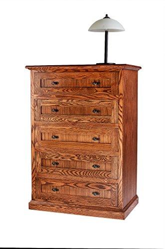 (Forest Designs Mission Oak Five Drawer Chest: 34W x 48H x 18D 34w x 48h x 18d Medium Oak)