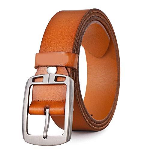 - ZFADDS Cowhide Leather Belts For Men Cowboy Luxury Strap Male Fancy Jeans Designer Belt Men TAN 135cm