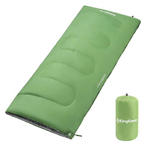 KingCamp Sleeping Bag Envelope Adults Three Season Warm Lightweight Portable Waterproof Comfort With Compression Sack for Cool Weather Backpacking Camping Hiking 39.2F/4C (Green)