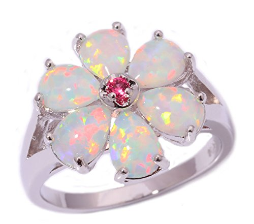 CiNily White Fire Opal Pink Tourmaline Women Jewelry Gemstone Silver Ring Size 6-12 (10) Cut Pink Tourmaline Ring