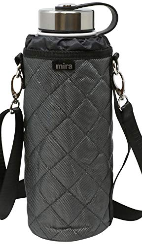 MIRA Water Bottle Carrier for 40 oz Wide Mouth Vacuum Insulated Stainless Steel Bottles | Fits, Hydro Flask, Camelbak, Takeya and Other Wide Mouth Bottles | Gray Ballistic Nylon