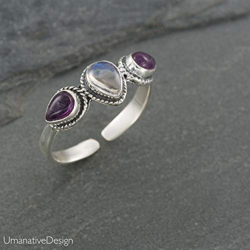 Ring Moonstone Amethyst - Boho Sterling Silver Ring With Rainbow Moonstone and Amethyst Stones,Open and Adjustable Tribal Oval Stone Ring, Hippie Ethnic Handmade Natural Stone Ring, Unisex Indian Jewelry For men and women