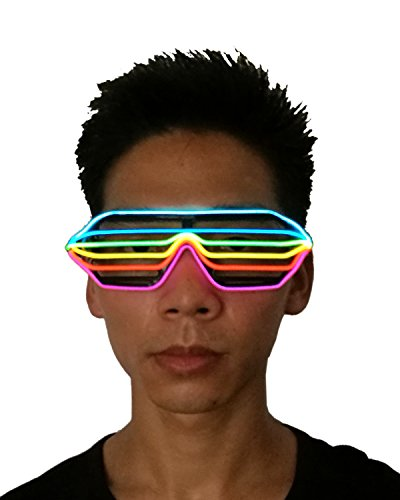 EL Wire 6 Color Flashing LED Light up Shutter Glasses for Costume Party Festival,Party Concert