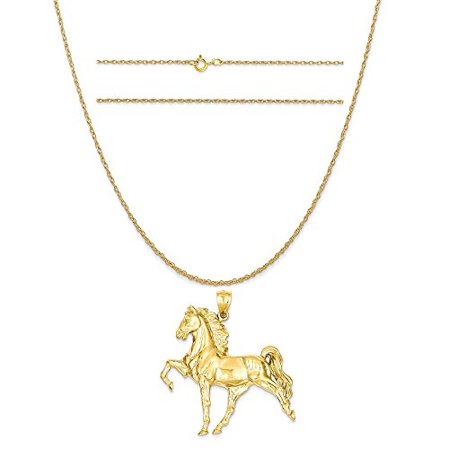 K&C 14k Yellow Gold Solid Polished Open-Backed Horse Pendant on 14K Yellow Gold Rope Necklace, 20