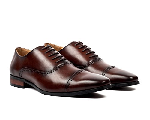 Santino Luciano Matteo Men's Stitch Detail Cap-Toe Dress Shoes
