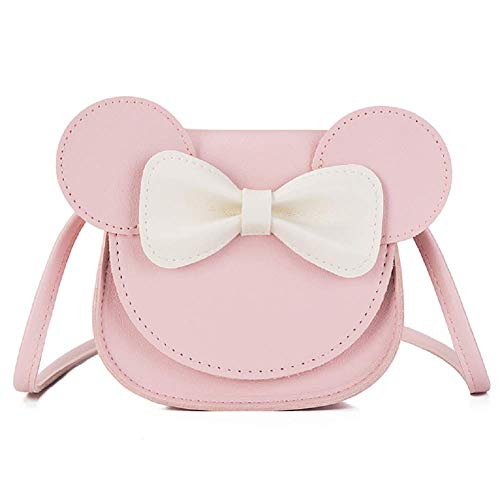ZGMYC Kids Toddlers Bowknot Crossbody Purse Small Shoulder Bag Satchel with Cartoon Ears (Light Pink)