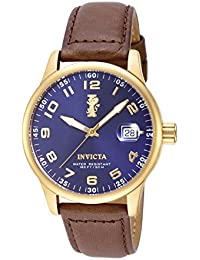 """Men's 15255 """"I-Force"""" 18k Gold Ion-Plated Stainless Steel and Brown Leather Watch"""