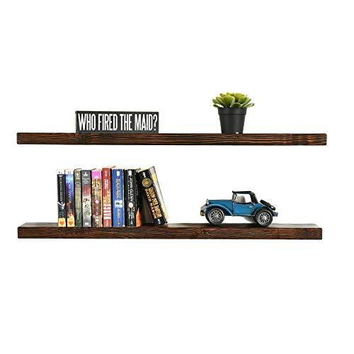 WELLAND Bradley Floating Shelves Handmade Wood Wall Shelf Rustic Wall-Mounted Walnut (2 Set, 36L x 5D x 1.375H -inch)