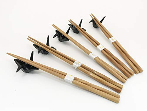 Japanese Traditional Chopsticks Set with Origami Crane Chopsticks Rest 5 Matching Pair Chopsticks Set Dining Table Starter Kit Beautiful Gift Item Nicely Packaged (Black)