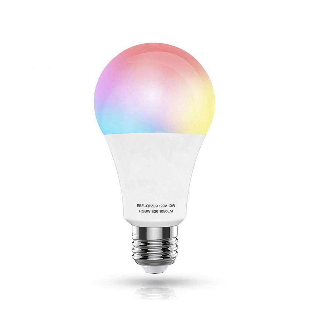 WiFi Smart LED Light Bulb,10W(100W Equivalent)(White 60W) E26 Warm White+RGB Dimmable Multicolored Light Bulb, Free APP Remote Controlled,No Hub Required ...