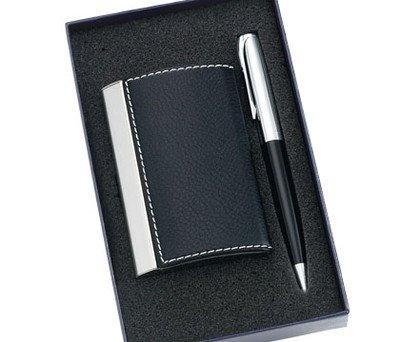 2 Pcs. Set Black Pu Leatherette/metal Card Case & Matching Pen with Gift (Black Leatherette Card Case)