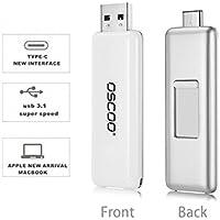 OSCOO Type-C 3.1/USB 3.0 Ultra Dual USB C Flash Drive (128G White&Silver)