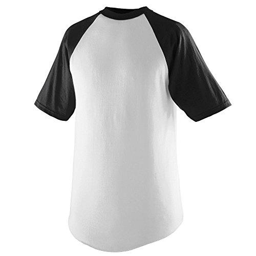 Augusta Sportswear Men's Short Sleeve Baseball Jersey, White/Black, Large