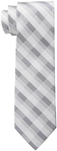 Calvin Klein Men's Creme Plaid Tie, Grey, One - Gray Tie Silk