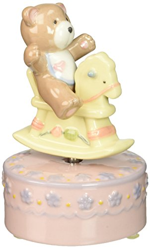(Cosmos 80104 Fine Porcelain Rocking Horse with Bear Musical Figurine, 4-3/4-Inch, Pink)
