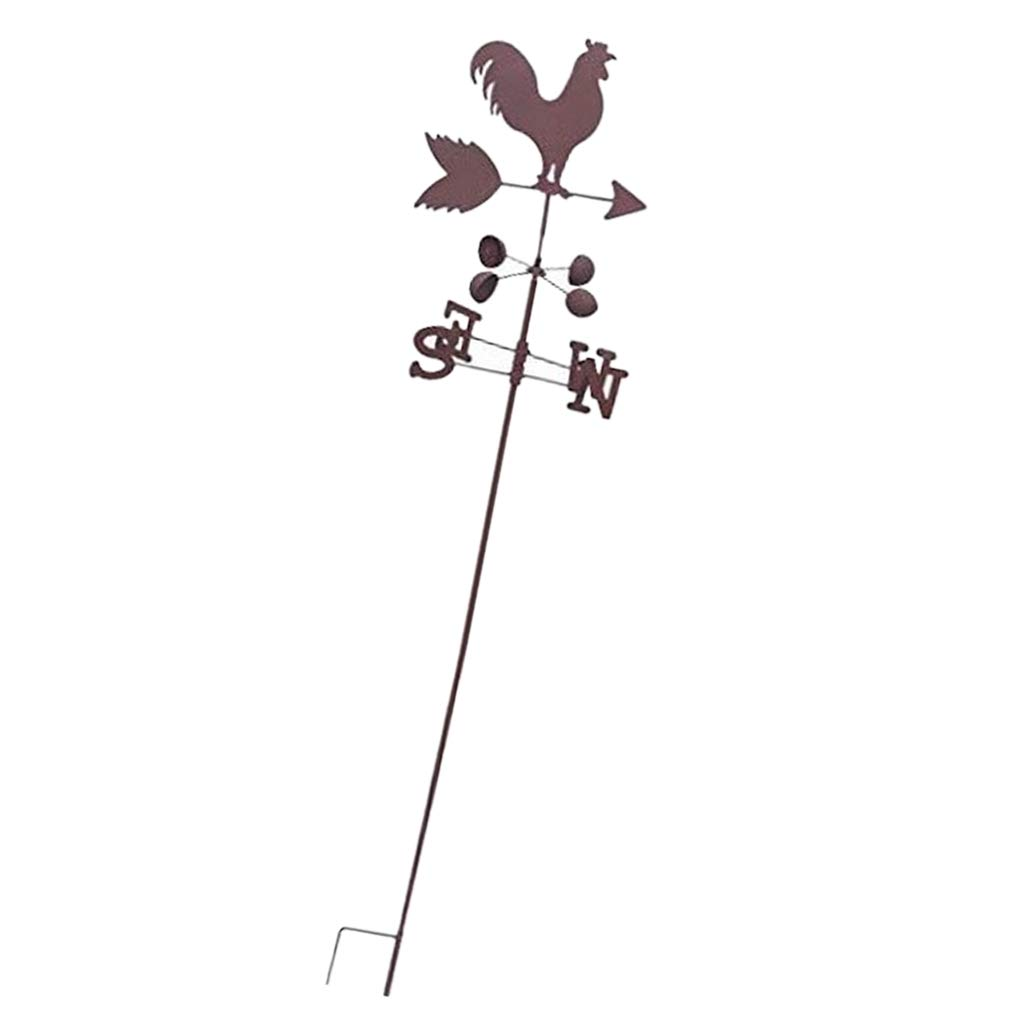 D DOLITY Iron Weathervane - Classic Rooster - Brown, 26x 26x 120cm