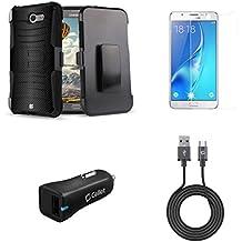 Samsung Galaxy J7 (J7 V, Perx, J7 Prime, Sky Pro, Halo) - Bundle: Dual Layer Shockproof Kickstand Belt Holster Case - (Dark Carbon), Screen Protector, 18W QC 3.0 Car Charger, USB Cable, Atom Cloth