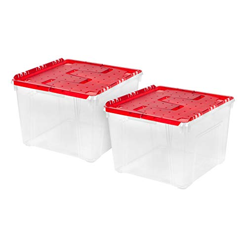 IRIS USA WL-60 Holiday Wing-Lid Box with Ornament Dividers, 60 Qt, 2 Pack, Red, 2 Count
