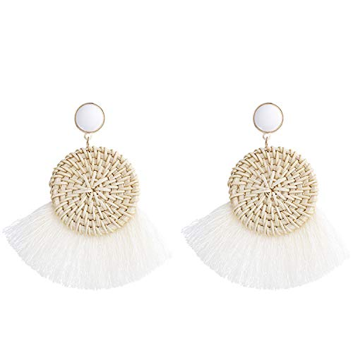 - Statement White Tassel Earrings Summer Rattan Fringe Drop Dangle Earrings for Women