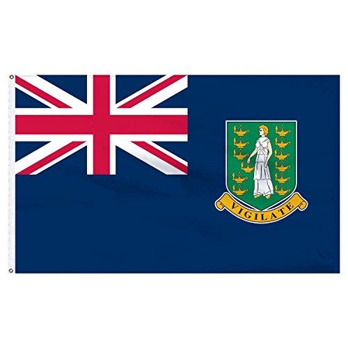 AES 2x3 British Virgin Islands Flag 2'x3' House Banner 2x3 Virgin Island grommets Fade Resistant Double Stitched Premium Penant House Banner Grommets - Proof British Virgin Islands