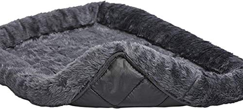 Fluffy's Luxurious Dog Bed   Bolster Dog Bed Fits Metal Dog Crates   Machine Wash & Dry (Small, Black)