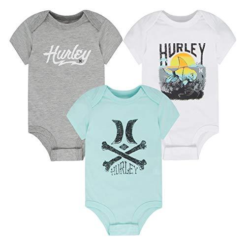 Graphic Onesie - Hurley Baby Graphic Bodysuit Three Piece Set, Dark Greey Heather/Teal/White 9M