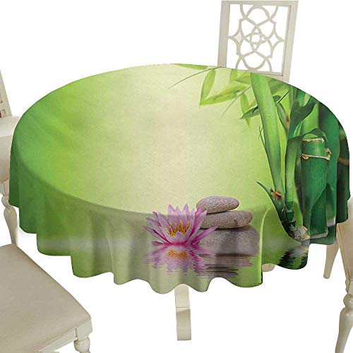 Cranekey Banquet Round Tablecloth 65 Inch Spa,Zen Garden Asian Self-Control Freshening Insight in Daily Life Mindful Activity Print,Green Pink for Home,Party,Wedding & More (Insight Best Of Italy)