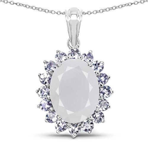Johareez 9.83 Carat Genuine Blue Chalcedony & Tanzanite .925 Sterling Silver Floral Pendant