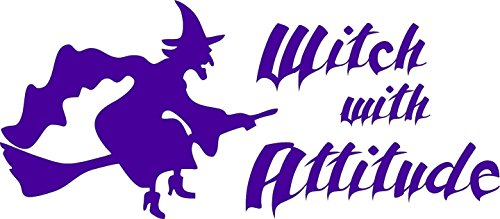 Barking Sand Designs Witch with Attitude Halloween Purple - Die Cut Vinyl Window Decal/Sticker for Car/Truck]()
