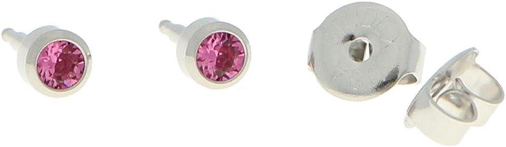Erst Pendientes Acero Quirúrgico estériles Pendientes Aro con piedra en color rosa