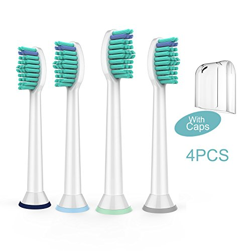 Beauty  Care Toothbrush Replacement Heads,Electric Toothbrush Heads Fit  DiamondClean HealthyWhite FlexCare EasyClean Kids Brush Handles,4 Pack