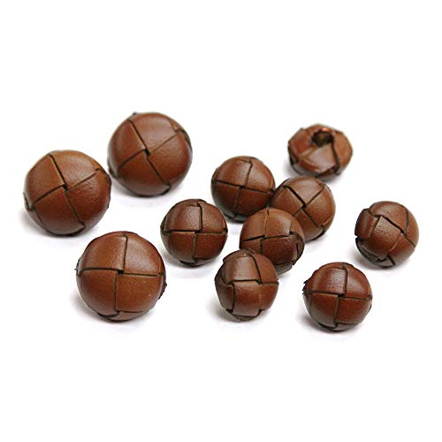 Set of 11 Thick Hickory Brown Woven Leather Shank Buttons for Single Breasted Jackets, Made in Italy