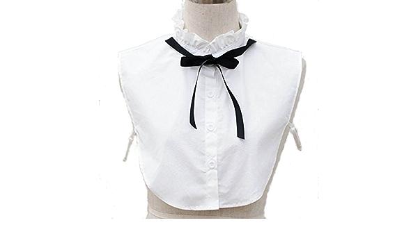Moda Niña Lazo Cuello de Camisa de algodón con volantes falso ...