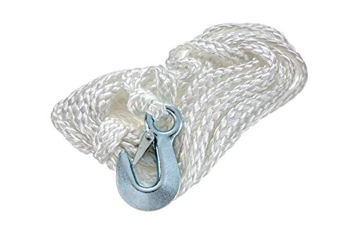 attwood 11026-5 Winch Rope, Braided Nylon, Zinc-Plated Steel Hook, 3/8-Inch Thick, 25 Feet Long, White, Rated to 1,200 Pounds