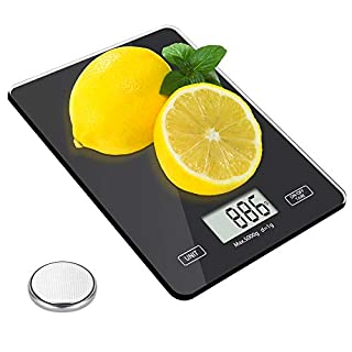 Food Kitchen Scale, Meromore Digital Weight Scales Grams and Oz, 1g/0.1oz Precise Graduation, 11lb Kitchen Scale with Tempered Glass Platform for Baking Kitchen Cooking