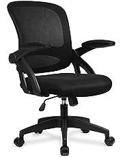 COMHOMA Skrivbordsstol kontorsstolar 90° flip-up armstöd ergonomisk datorstol ländrygg stöd höjd justerbar 360° vridfunktion nät baksäte för hemmakontor - svart