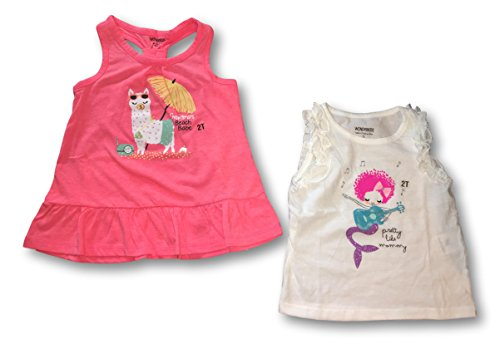 WonderKids Girls Set Of 2 Summer Bright Colored Tank Tops & Ruffle Tank Tops (Pretty Mermaid & Llama Beach Babe Tank Top, (Babe Tank)