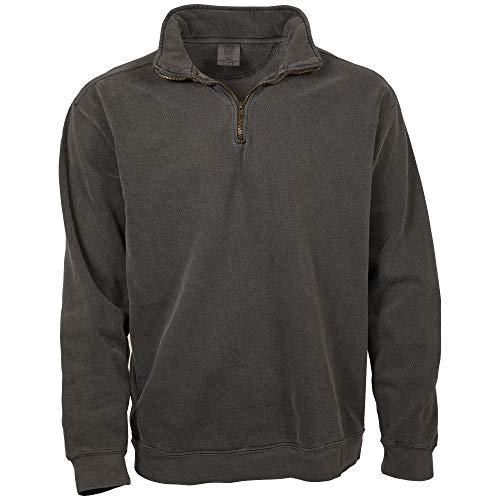 Comfort Colors Men's Adult 1/4 Zip Sweatshirt, Style 1580, Pepper, Large (1/4 Color Zip)