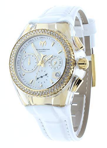 Technomarine Cruise Valentine Gold PVD Case Crystal Bezel Chrono White Leather Band Women's Watch TM-117046