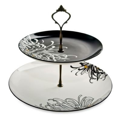 DENBY CHRYSANTHEMUM 2 tiered server (Home Collections Porcelain)