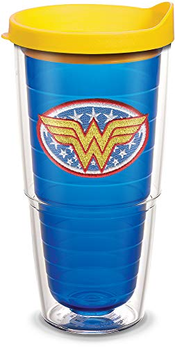 - Tervis 1084015 Wonder Woman Tumbler with Emblem and Yellow Lid 24oz, Blue